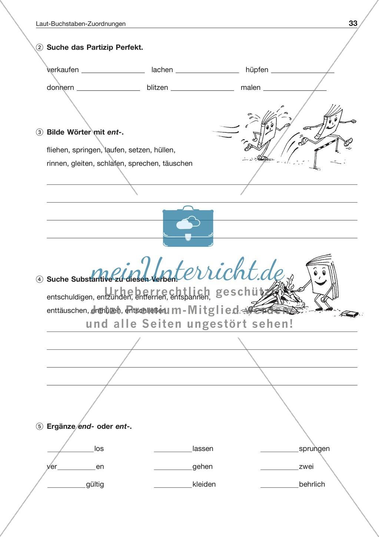 Laut-Buchstaben-Zuordnung: Wörter mit t am Wort- und Silbenende: Arbeitsblatt + Lösung Preview 2