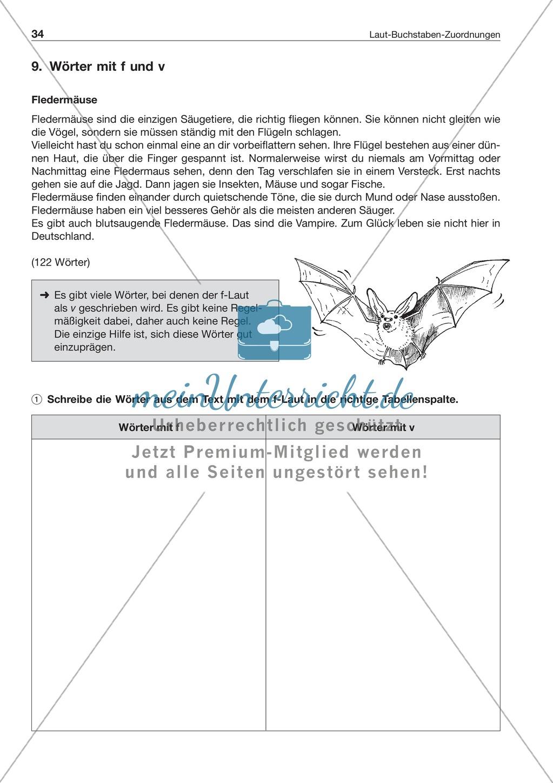 Laut-Buchstaben-Zuordnung: Wörter mit f und v: Arbeitsblatt + Lösung Preview 0