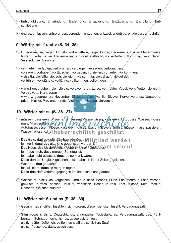 Laut-Buchstaben-Zuordnung: Wörter mit f und v: Arbeitsblatt + Lösung Preview 2