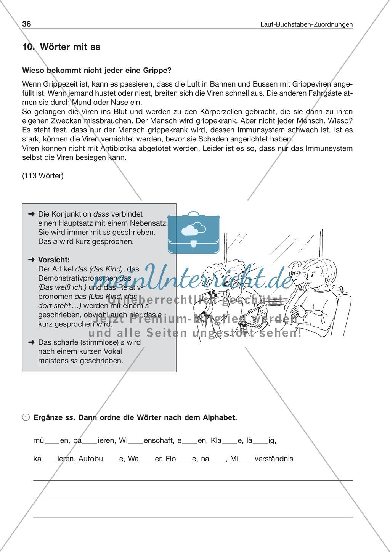 Laut-Buchstaben-Zuordnung: Wörter mit ss: Arbeitsblatt + Lösung Preview 0