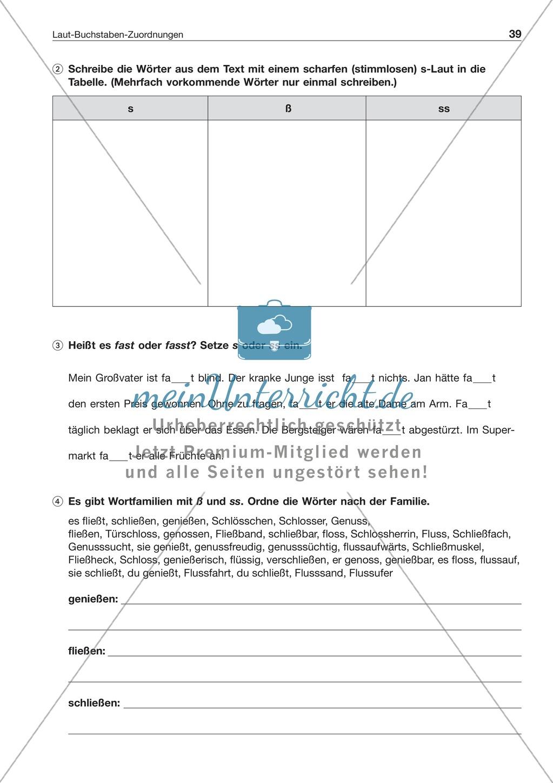 Laut-Buchstaben-Zuordnung: Wörter mit ß und ss: Arbeitsblatt + ...