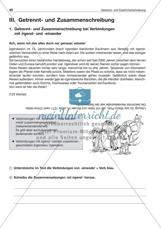 Getrennt- und Zusammenschreibung bei Verbindungen mit irgend- und -einander: Arbeitsblatt + Lösung Preview 0