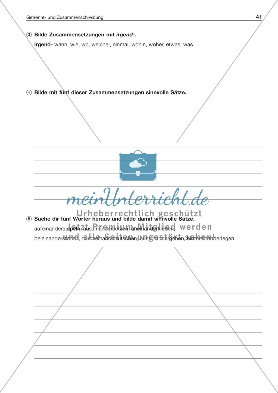 Getrennt- und Zusammenschreibung bei Verbindungen mit irgend- und -einander: Arbeitsblatt + Lösung Preview 1