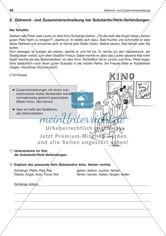 Getrennt- und Zusammenschreibung bei Substantiv/Verb-Verbindungen: Arbeitsblatt + Lösung Preview 1