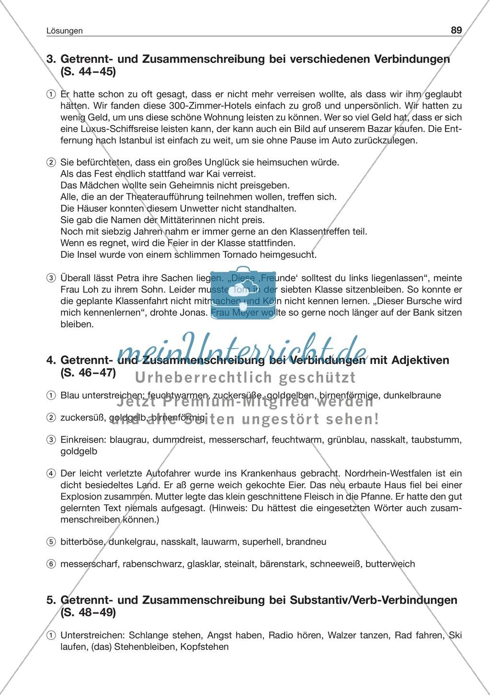 Getrennt- und Zusammenschreibung bei Substantiv/Verb-Verbindungen: Arbeitsblatt + Lösung Preview 2