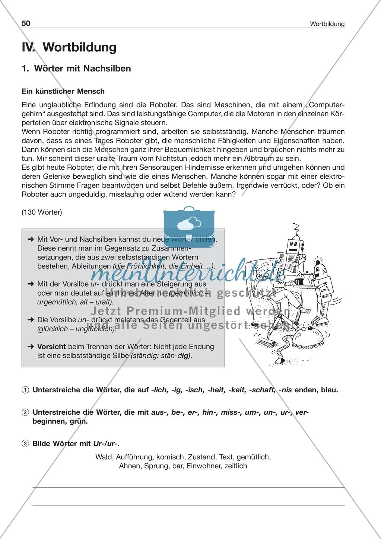 Wortbildung - Wörter mit Vor- und Nachsilben: Arbeitsblatt + Lösung ...