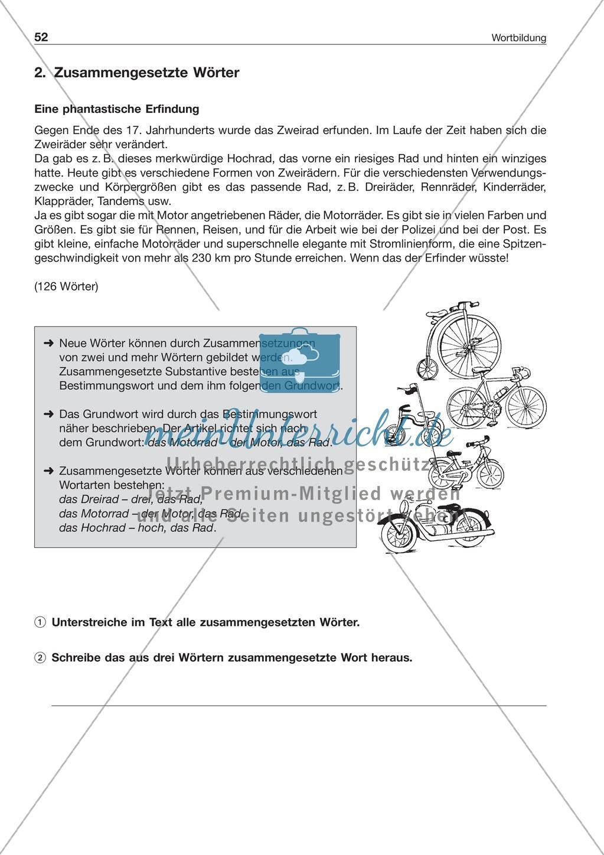 Wortbildung - Zusammengesetzte Wörter: Arbeitsblatt + Lösung ...