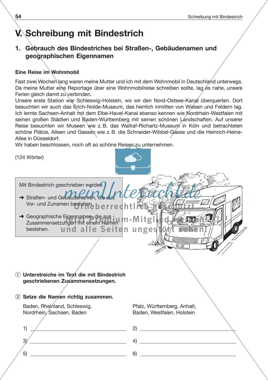 Schreibung mit Bindestrich bei Eigennamen: Arbeitsblatt + Lösung Preview 0