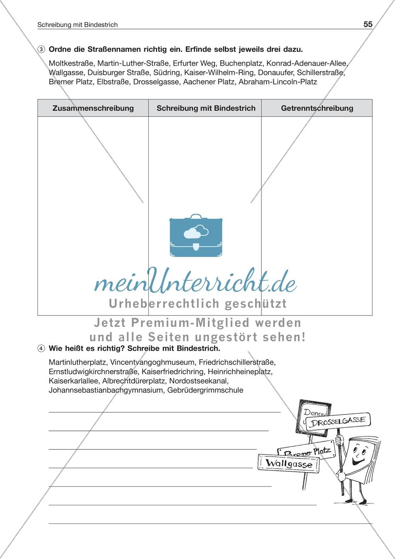 Schreibung mit Bindestrich bei Eigennamen: Arbeitsblatt + Lösung ...