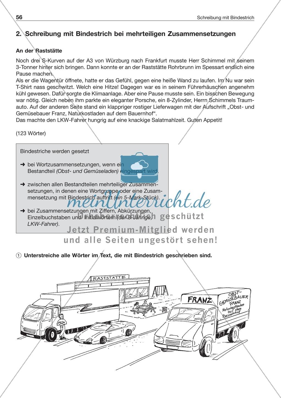 Schreibung mit Bindestrich bei mehrteiligen Zusammensetzungen: Arbeitsblatt + Lösung Preview 0