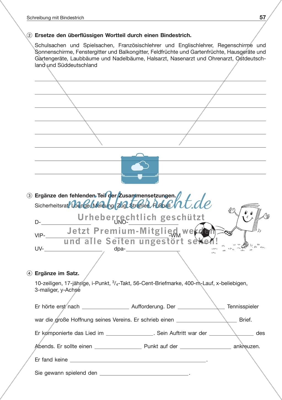 Schreibung mit Bindestrich bei mehrteiligen Zusammensetzungen: Arbeitsblatt + Lösung Preview 1