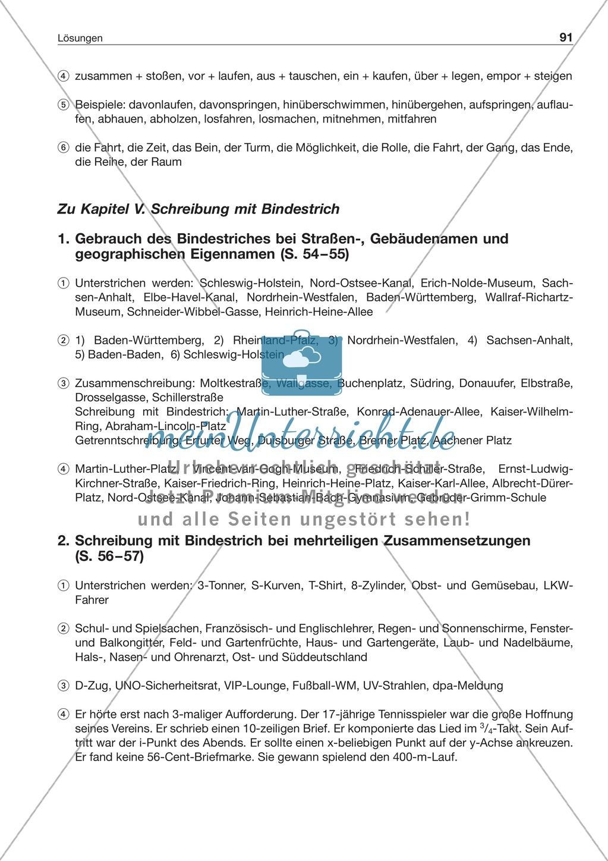 Schreibung mit Bindestrich bei mehrteiligen Zusammensetzungen: Arbeitsblatt + Lösung Preview 2