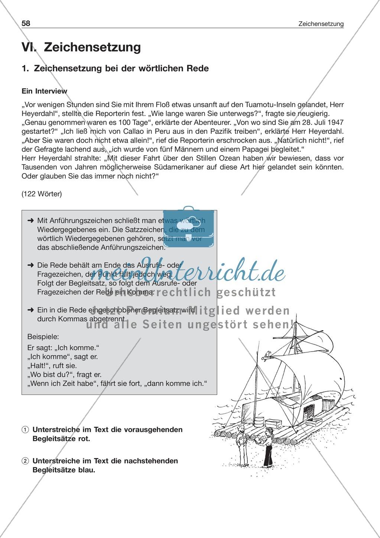 Zeichensetzung bei wörtlicher Rede: Arbeitsblatt + Lösung ...