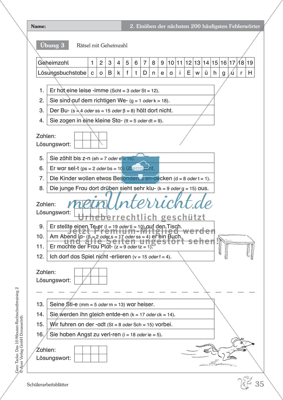 Einüben der 200 häufigsten Fehlerwörter - Wort 139-150: Arbeitsblätter + Erläuterung Preview 2