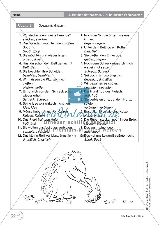 Einüben der 200 häufigsten Fehlerwörter - Wort 214-225: Arbeitsblätter + Erläuterung Preview 2