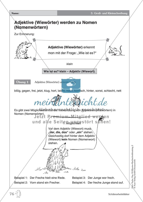 Groß- und Kleinschreibung - Adjektive werden zu Nomen: Übungen + ...