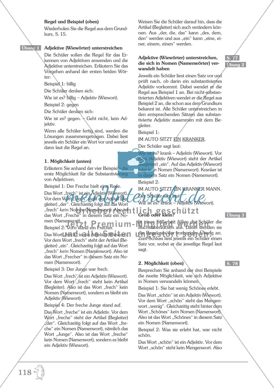 Groß- und Kleinschreibung - Adjektive werden zu Nomen: Übungen + Erläuterung Preview 6