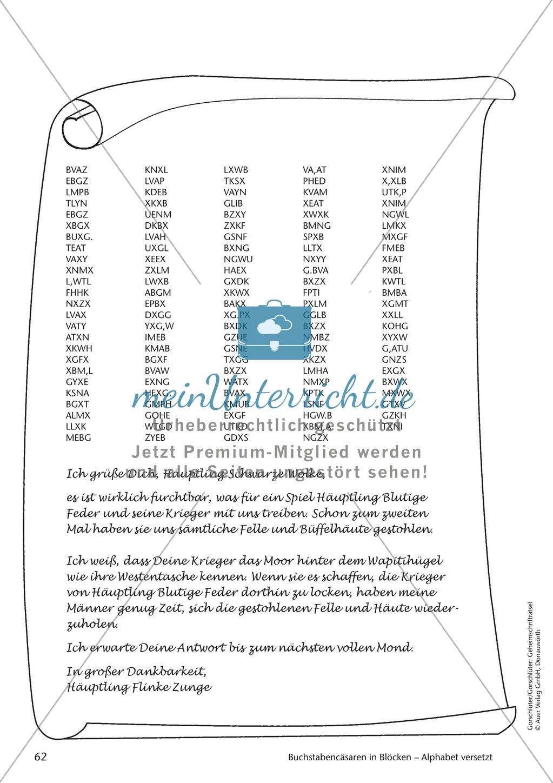 Geheimschrift in Blöcken Alphabet versetzt: Übungen Preview 1