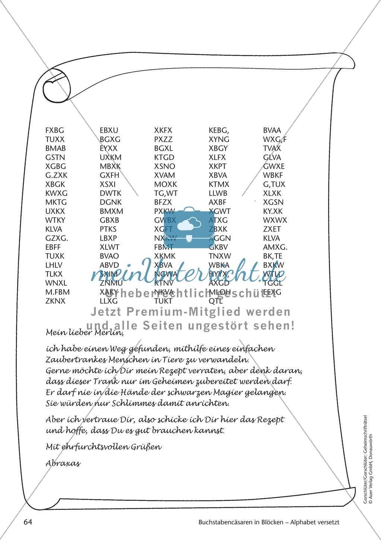Geheimschrift in Blöcken Alphabet versetzt: Übungen Preview 3