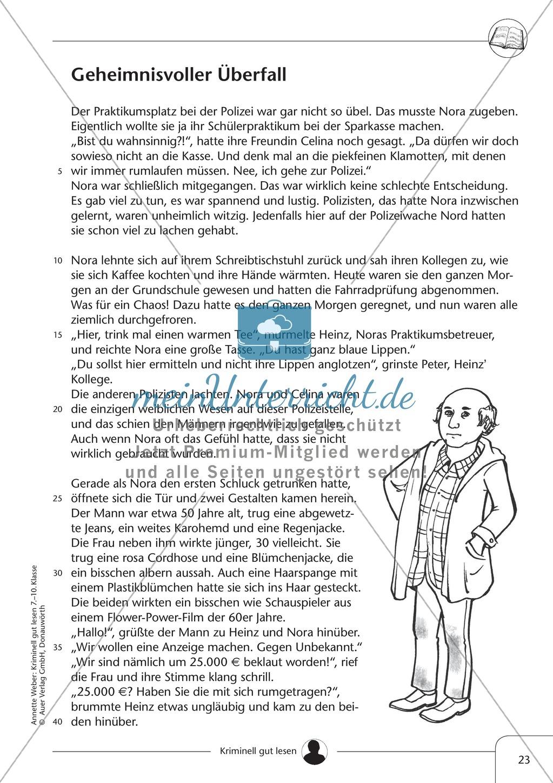 Geheimnisvoller Überfall: Text + Lückentext + Übung + Lösung Preview 0