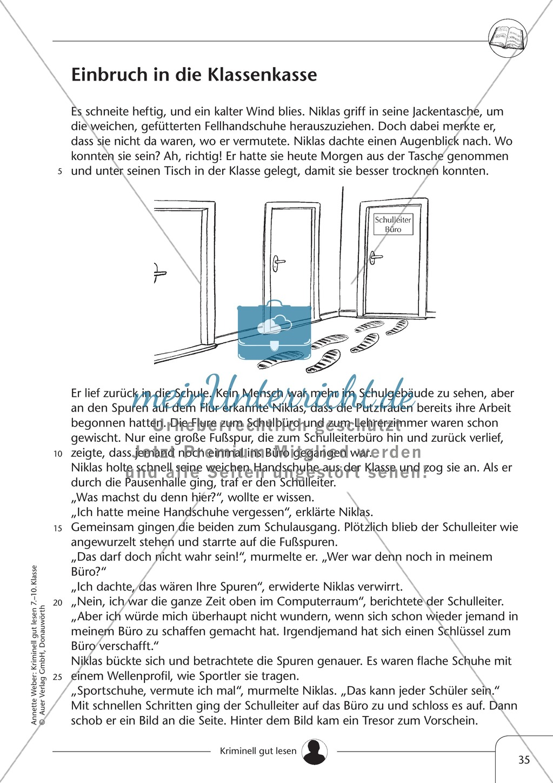 Einbruch in die Klassenkasse: Text + Übung + Lösung Preview 0