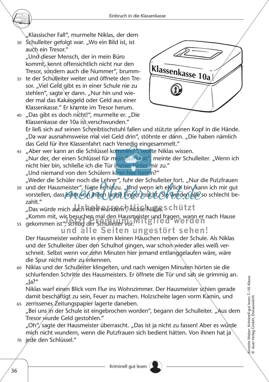 Einbruch in die Klassenkasse: Text + Übung + Lösung Preview 1