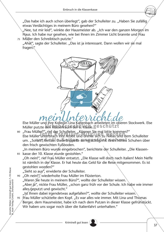 Einbruch in die Klassenkasse: Text + Übung + Lösung Preview 2