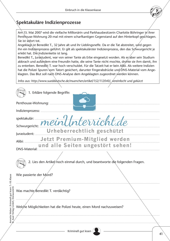 Einbruch in die Klassenkasse: Text + Übung + Lösung Preview 6