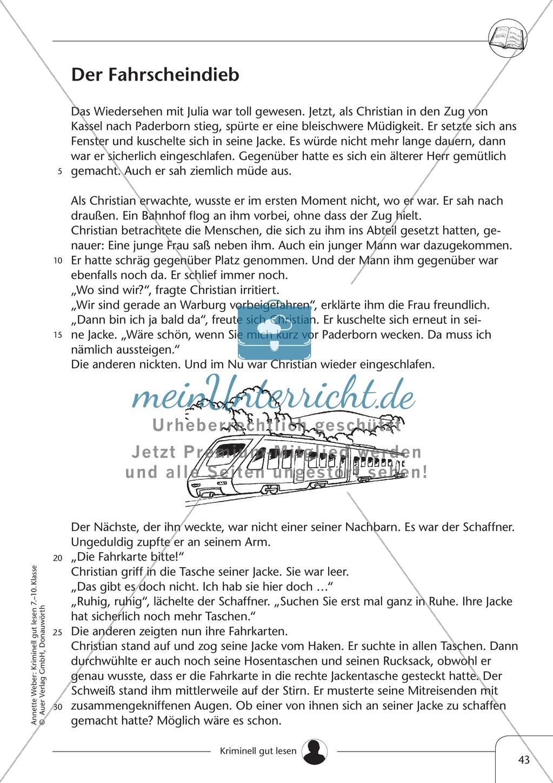 Der Fahrscheindieb: Text + Übung + Lösung Preview 0