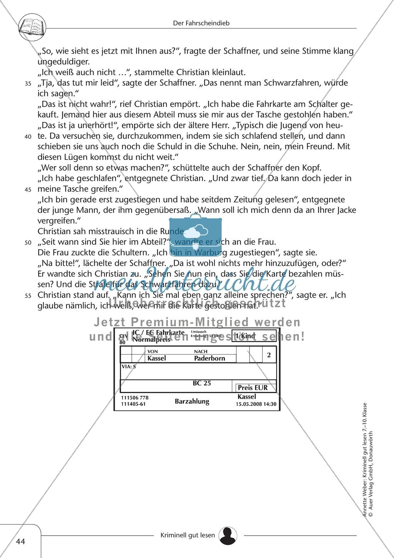 Der Fahrscheindieb: Text + Übung + Lösung Preview 1