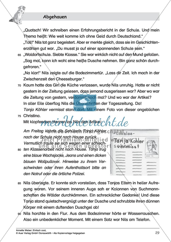 """Kurzgeschichte """"Abgehauen"""": Lesetext + Arbeitsblätter Preview 3"""