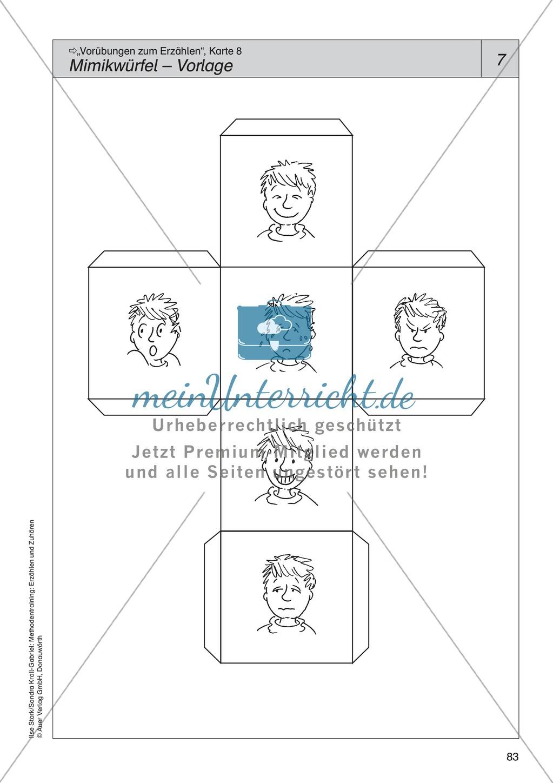 Vorübungen zum Erzählen: Gesichtsausdruck + Mimikwürfel Preview 2