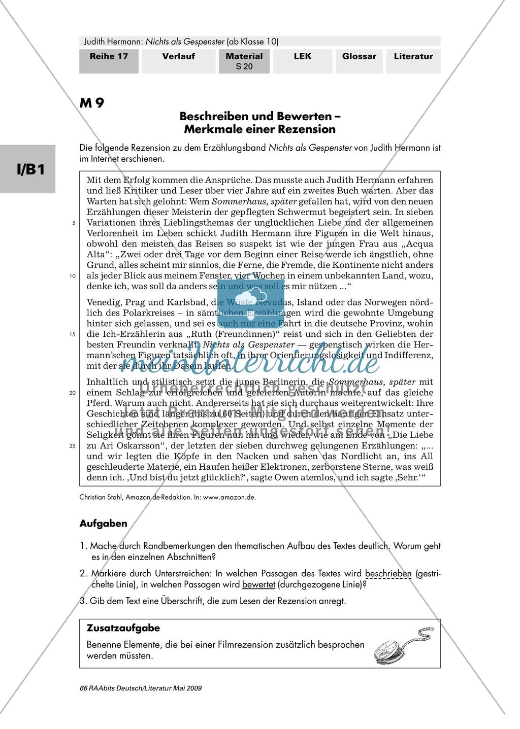 """Beschreiben und Bewerten - Merkmale einer Rezension anhand Hermanns """"Nichts als Gespenster"""" Preview 1"""