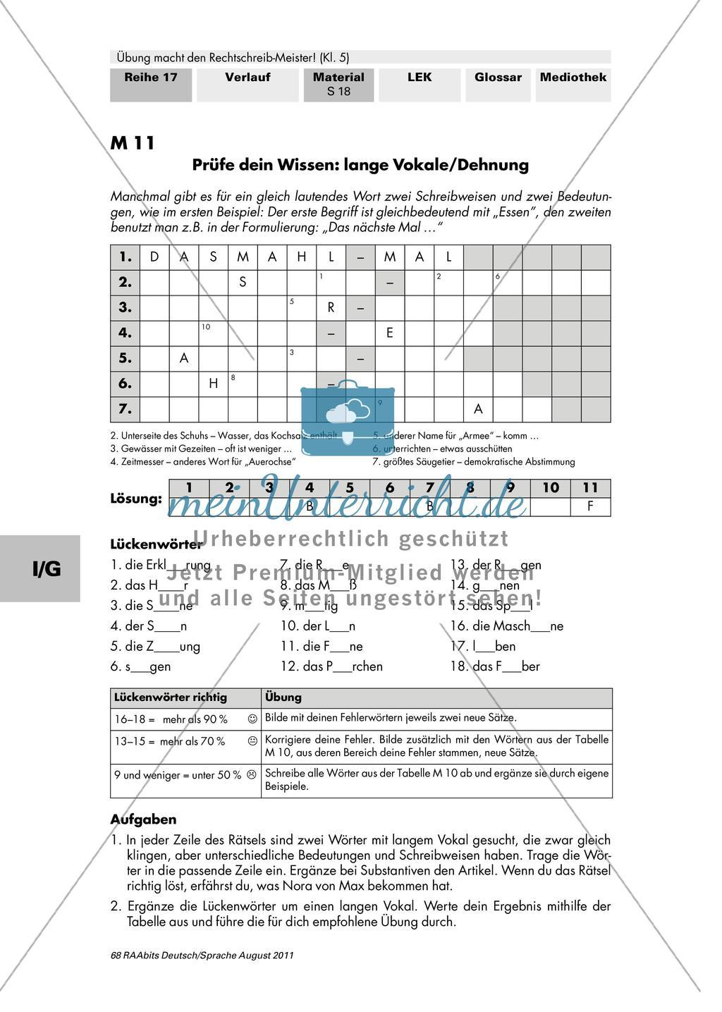 Rechtschreibung: lange Vokale/Dehnung Preview 2