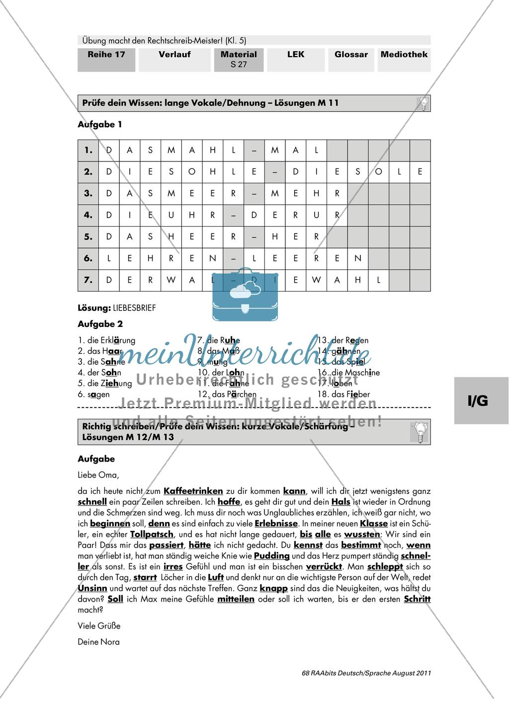 Rechtschreibung: lange Vokale/Dehnung Preview 5
