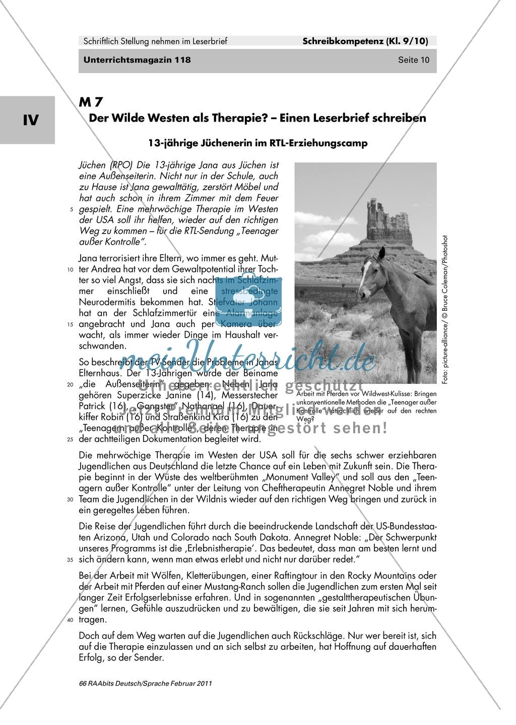 Der Leserbrief als schriftliche Stellungnahme: Merkmale kennen lernen, Fehler finden, Produktion eines eigenen Leserbriefes Preview 5