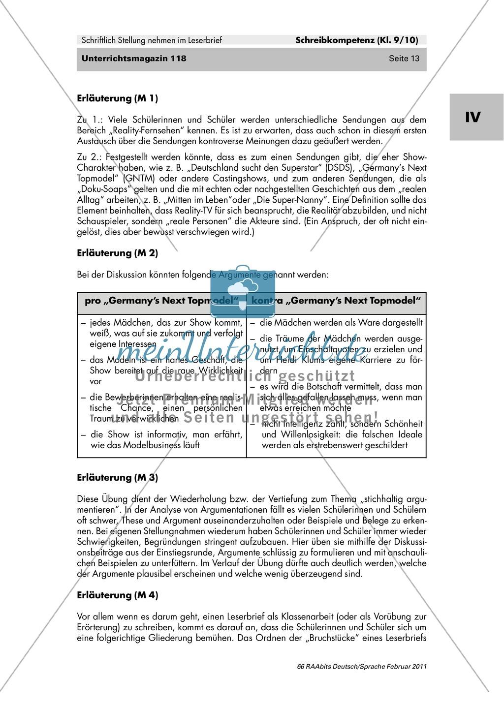 Der Leserbrief als schriftliche Stellungnahme: Merkmale kennen lernen, Fehler finden, Produktion eines eigenen Leserbriefes Preview 7