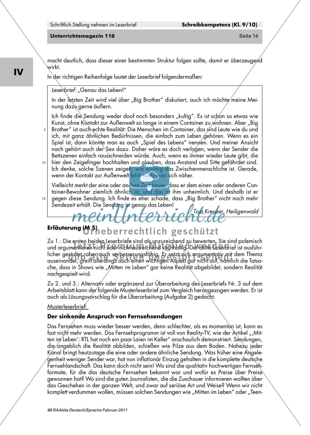 Der Leserbrief als schriftliche Stellungnahme: Merkmale kennen lernen, Fehler finden, Produktion eines eigenen Leserbriefes Preview 8