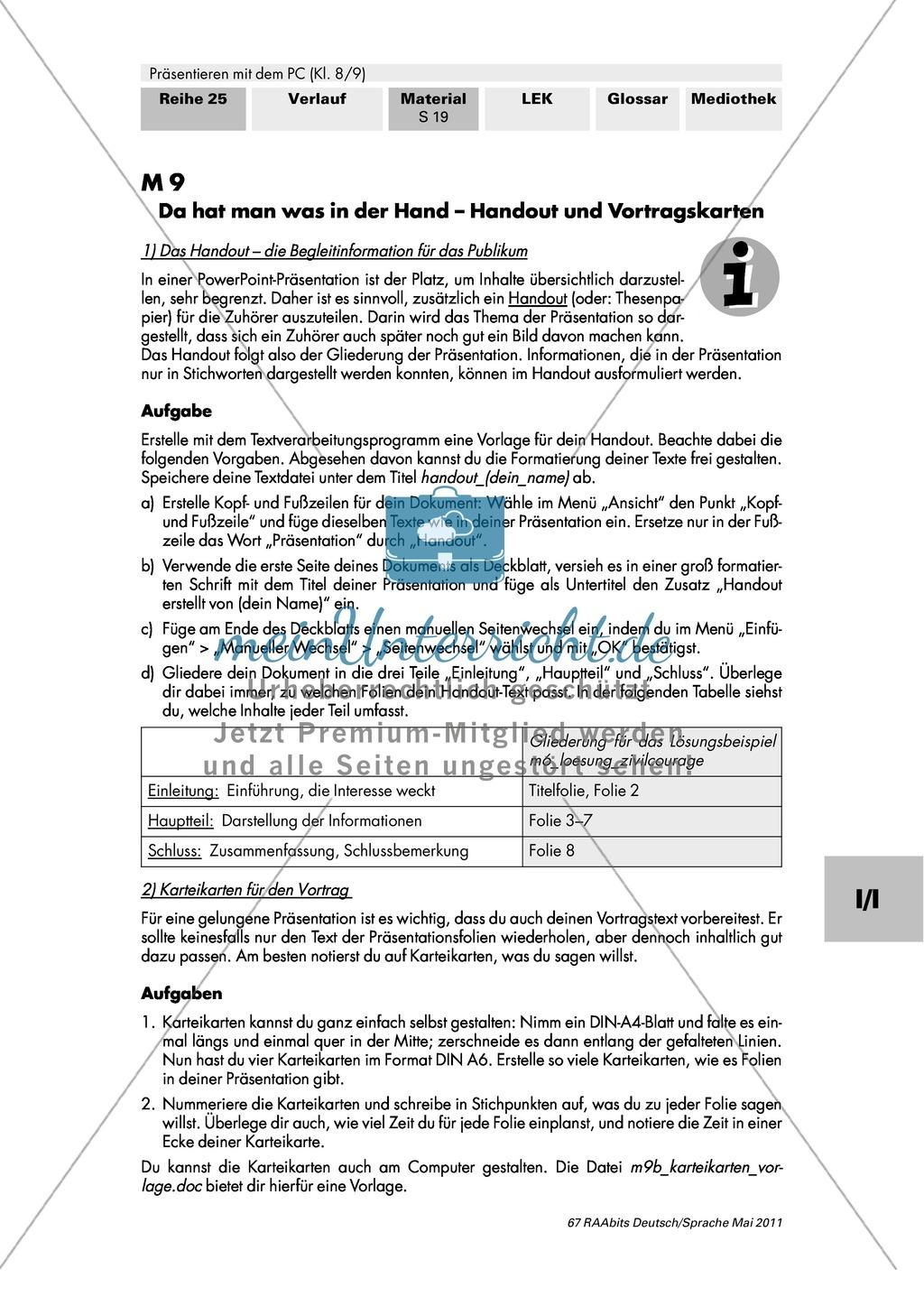 Handout und Vortragskarten erstellen und auf eine Präsentation abstimmen Preview 0