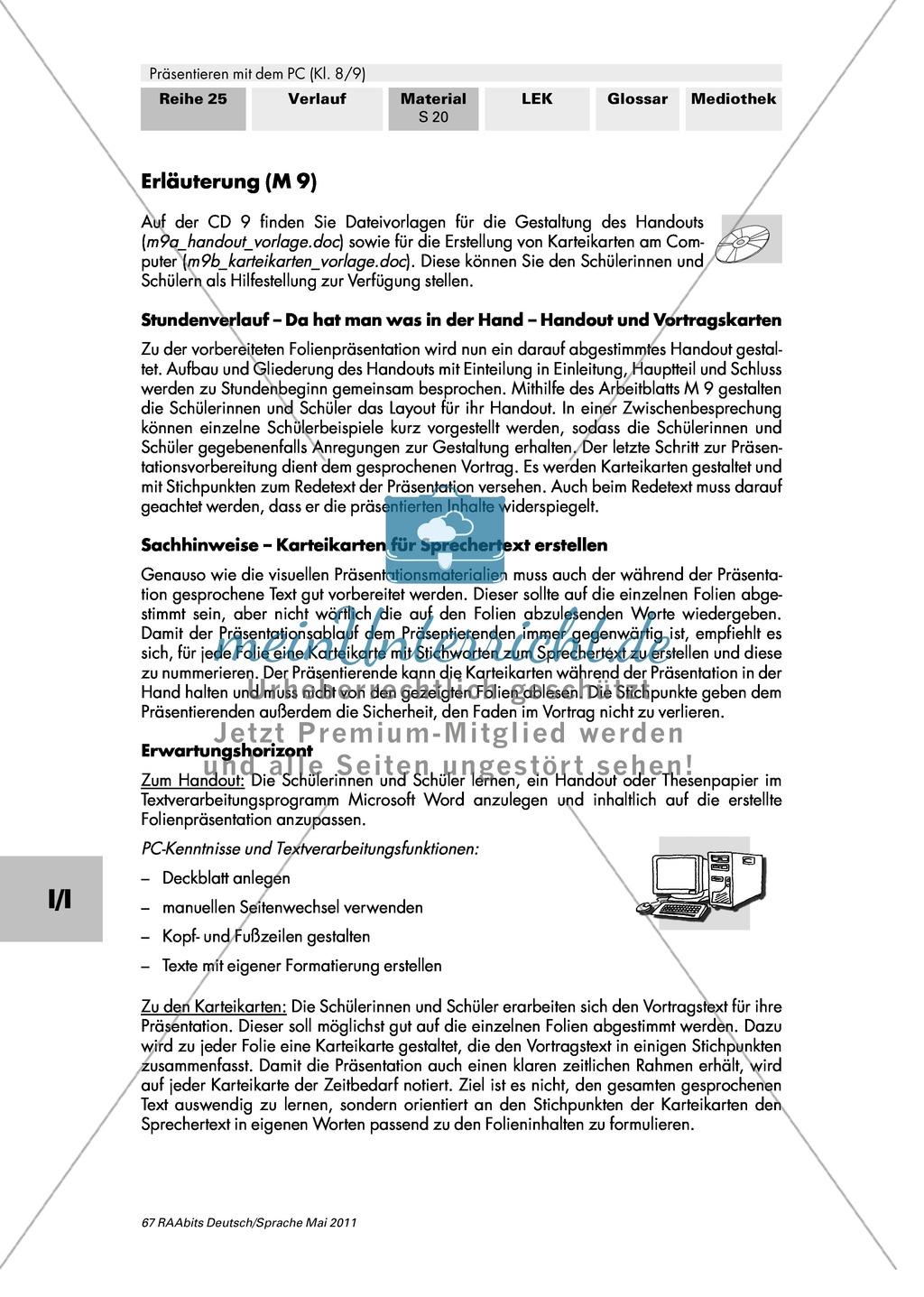 Handout und Vortragskarten erstellen und auf eine Präsentation abstimmen Preview 1