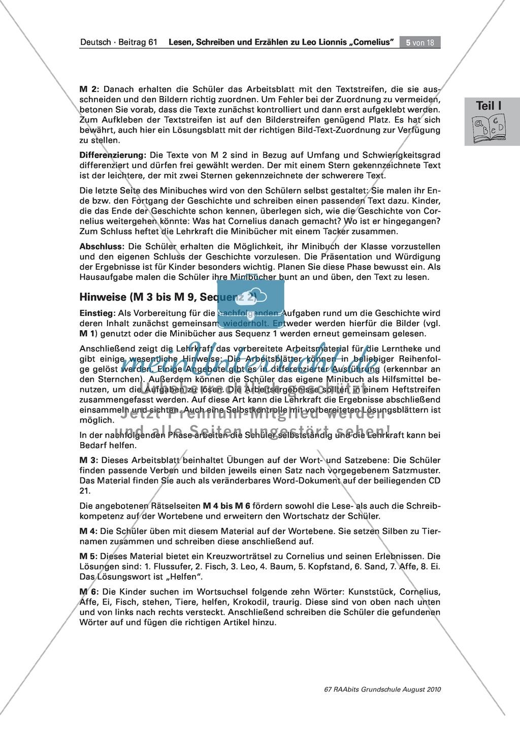 """Übungen zum Leseverstehen und produktive Methoden zur Erschließung der Bildergeschichte """"Cornelius"""" Preview 1"""