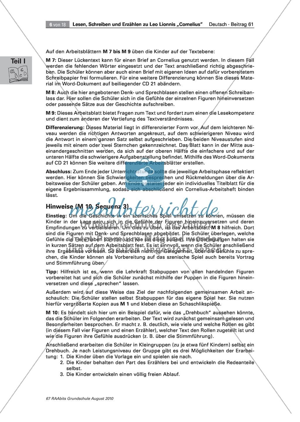 """Übungen zum Leseverstehen und produktive Methoden zur Erschließung der Bildergeschichte """"Cornelius"""" Preview 2"""
