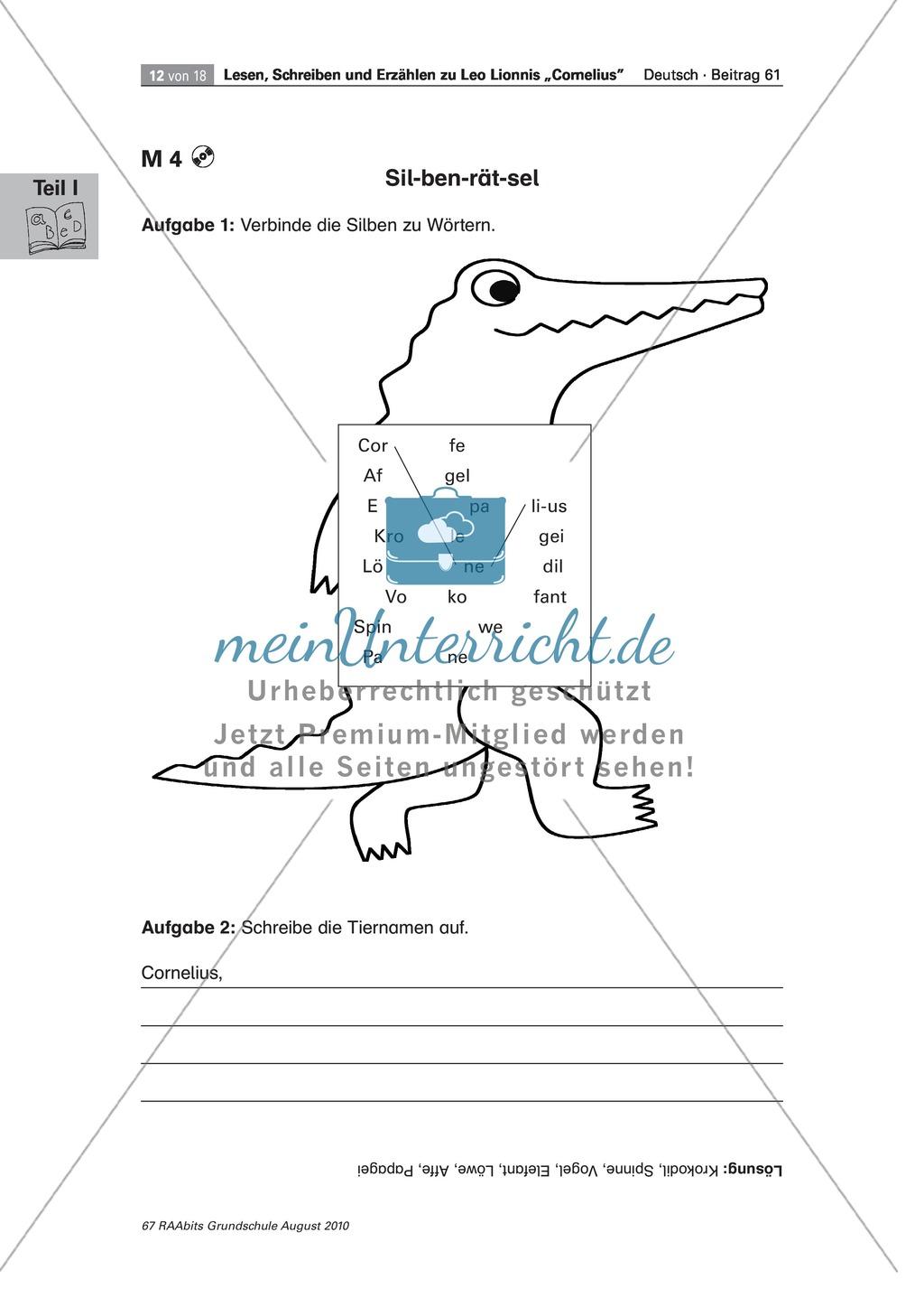 """Übungen zum Leseverstehen und produktive Methoden zur Erschließung der Bildergeschichte """"Cornelius"""" Preview 7"""