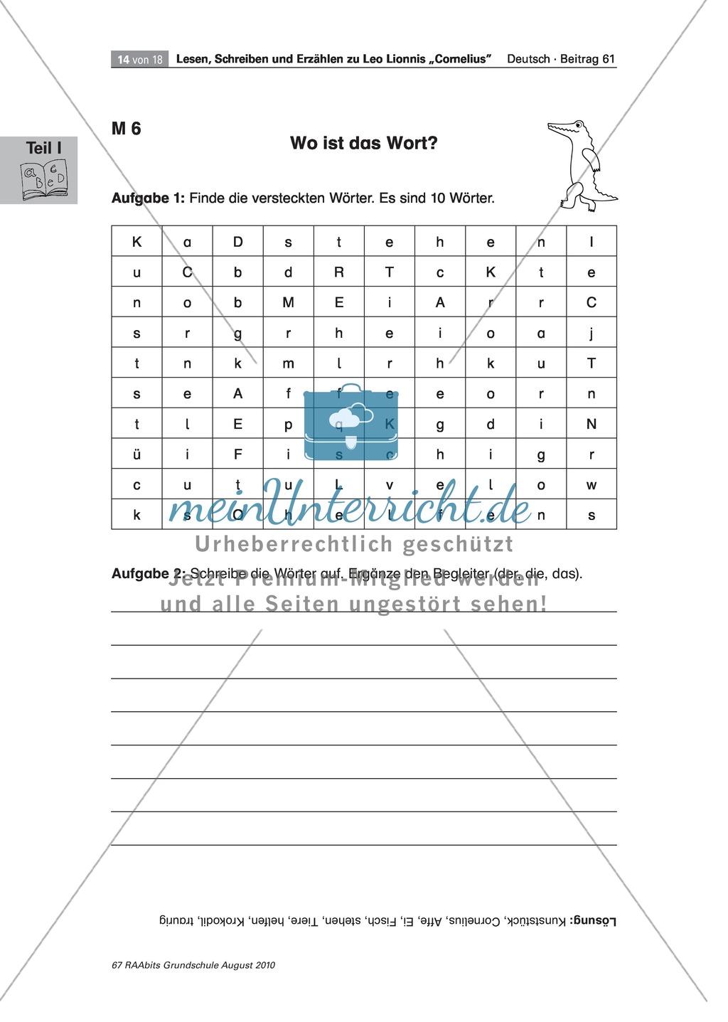 """Übungen zum Leseverstehen und produktive Methoden zur Erschließung der Bildergeschichte """"Cornelius"""" Preview 9"""