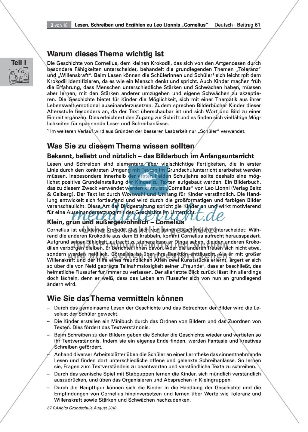 """Wir lesen das Bilderbuch """"Cornelius"""": Gesamtes Material Preview 2"""