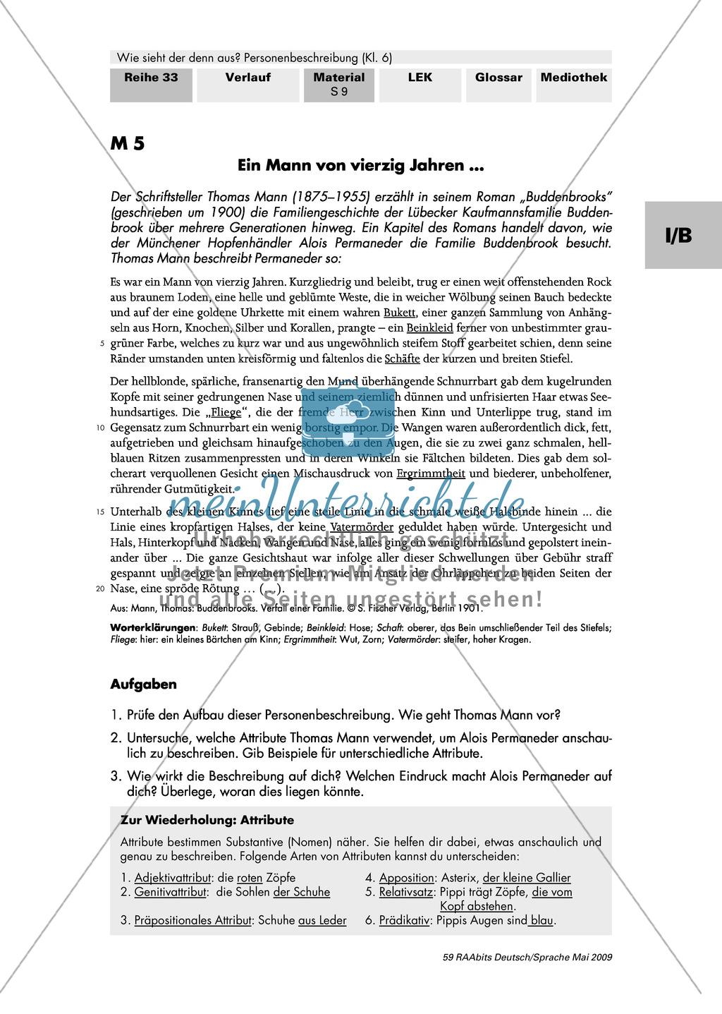 """Attribute als sprachliche Gestaltungsmittel einer Personenbeschreibung: Auszug aus den """"Buddenbrooks"""" Preview 1"""