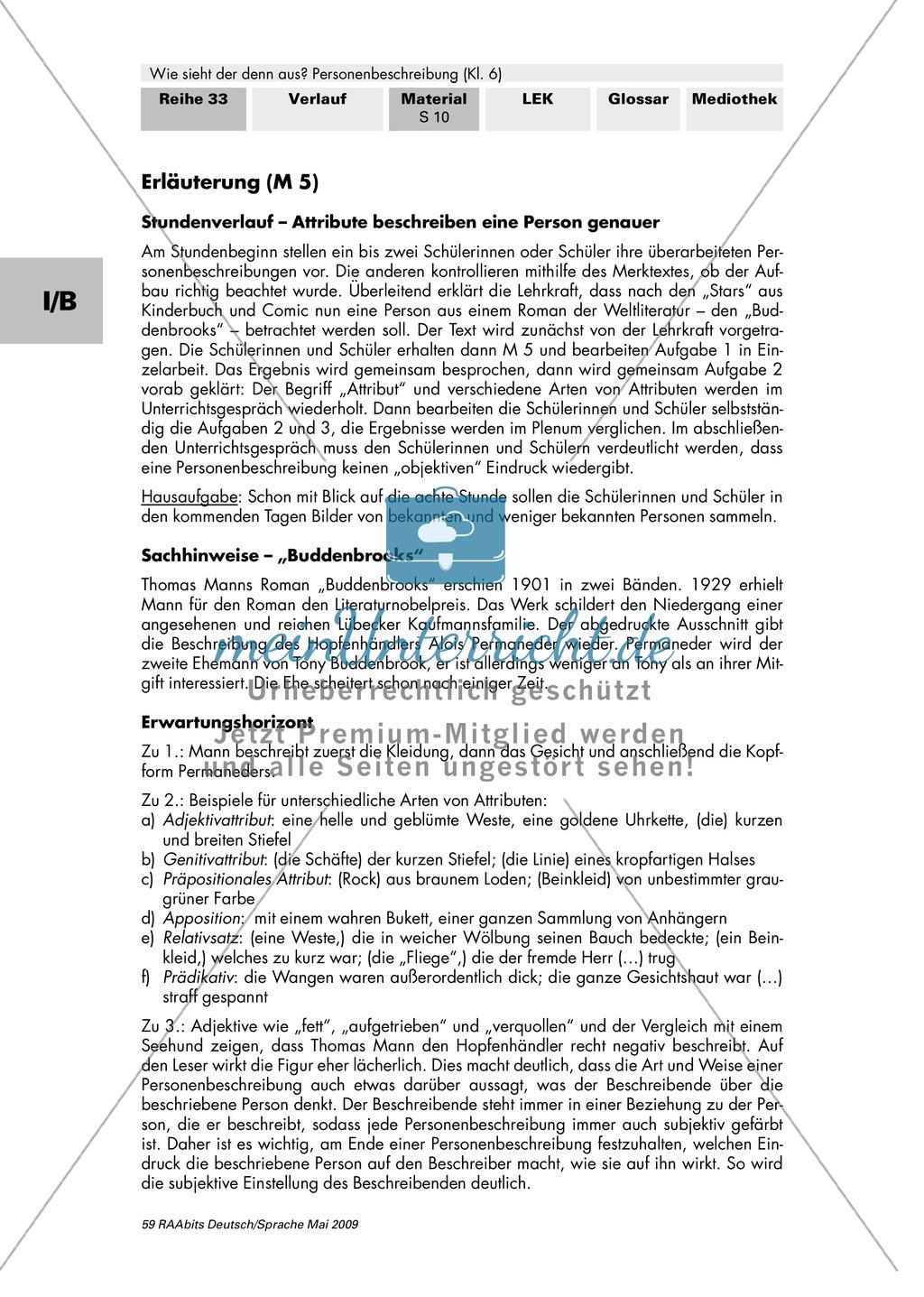Attribute als sprachliche Gestaltungsmittel einer Personenbeschreibung: Auszug aus den