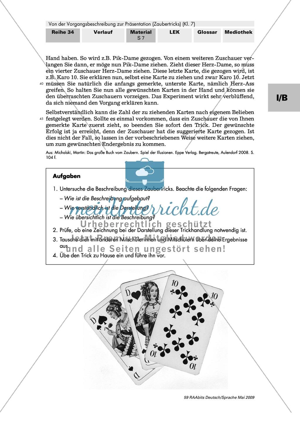 Der Aufbau einer Zaubertrick-Beschreibung Preview 1