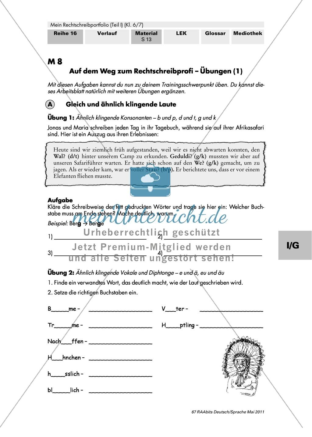 Gezielte Übungen für den individuellen Trainingsschwerpunkt und zur Überprüfung des Lernfortschritts - Thema Rechtschreibung Preview 0