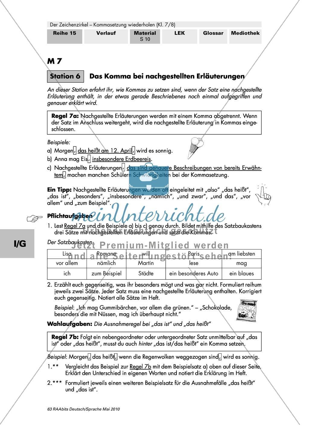 Der Zeichenzirkel - Arbeit an Stationen: Kommasetzung wiederholen + ...